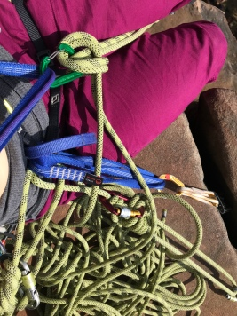 Belay setup on pitch no. 1 Inverted Staircase