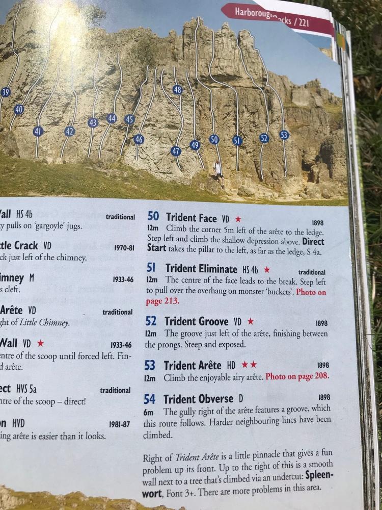 Harboro Rocks Climbing Routs, Trident Eliminate